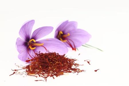 saffron: Dried saffron spice and Saffron flowers