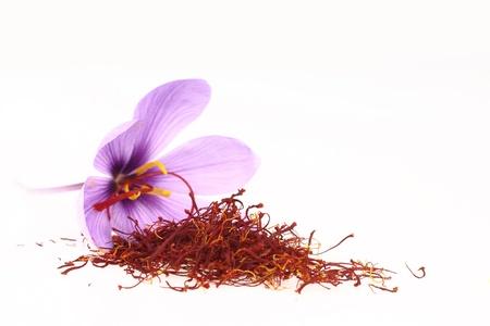 Dried saffron spice and Saffron flowers