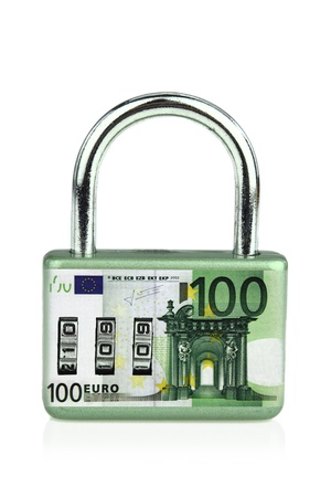 financial stability: Money security padlock
