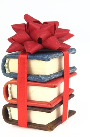Stack of book with ribbon photo