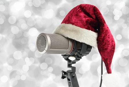 radio station: Christmas microphone Stock Photo
