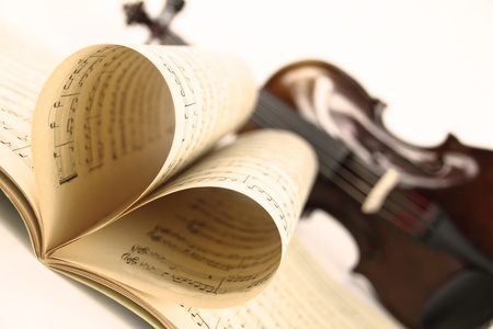 musical score:  Violin and music sheet Stock Photo