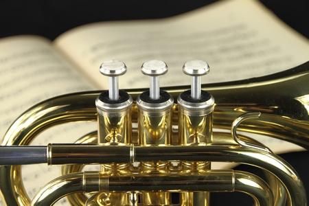 partition musique: Trompette avec une feuille de musique Banque d'images