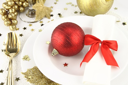christmas dish: Christmas table decoration Stock Photo