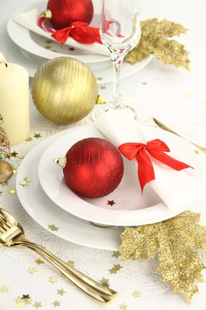 Christmas table decoration photo
