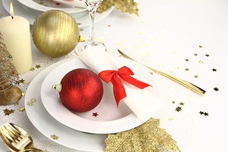 christmas eve: Christmas table decoration Stock Photo