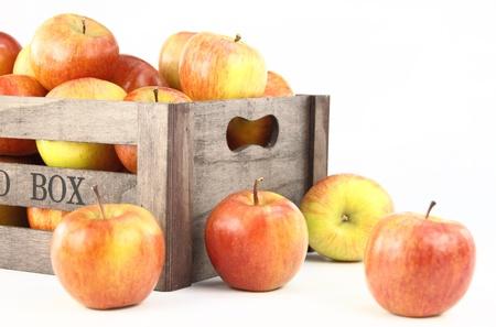 Wooden box full of apples photo