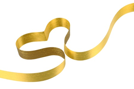 gold bow: Gold ribbon heart