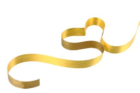 Gold ribbon heart photo