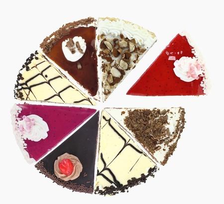 slice cake:  Pie chart of Cake slices Stock Photo