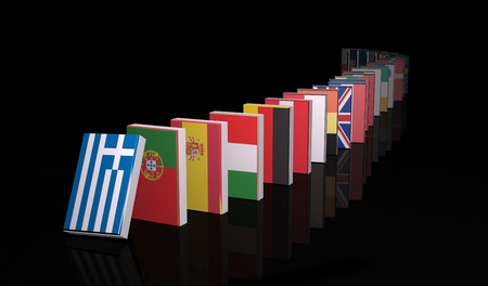 crisis economica: De crisis de 3d de dominó Foto de archivo