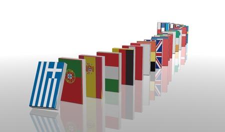 wirtschaftskrise: Europ�ische Krise 3D Domino Lizenzfreie Bilder