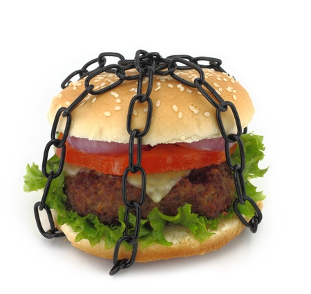 forbidden: Chained burger Stock Photo