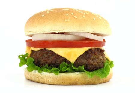 Delicious grilled burger on wheat buns photo