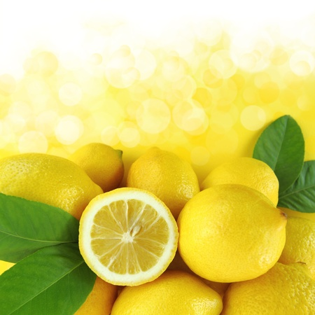 Background of fresh lemons photo