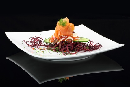 Gourmet dish. Smoked salmon with vegetables Stock Photo - 13044537
