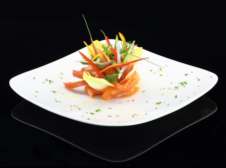 Gourmet dish. Smoked salmon with vegetables Stock Photo - 13044516