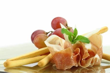 grissini: Prosciutto with grissini appetizer Stock Photo