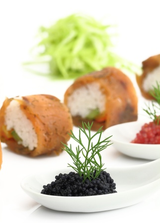 Salmon sushi and caviar Stock Photo - 13326438