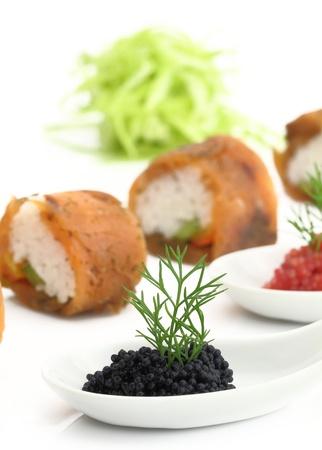 Salmon sushi and caviar Stock Photo - 13326438