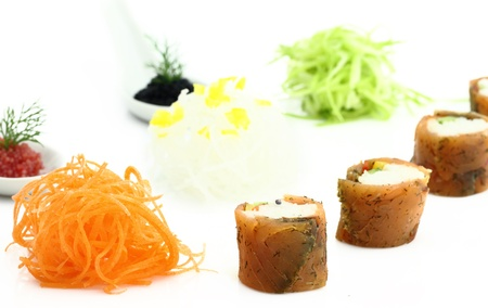 Salmon sushi and caviar photo