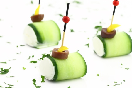 Finger food with Cucumber and cheese cream Stock Photo - 13326518
