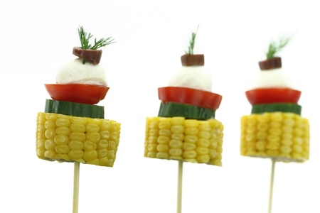 Vegetables skewers with mozzarella
