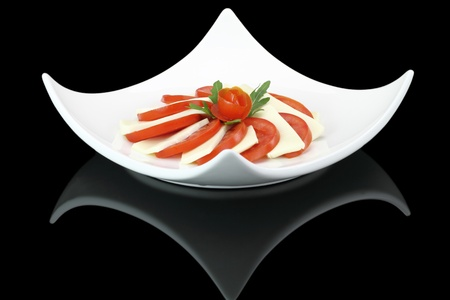 Gourmet salad with tomatoes, cheese and arugula Stock Photo - 13326470
