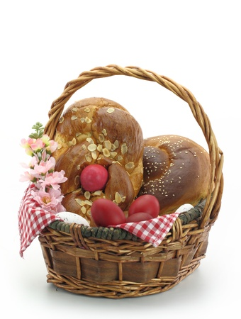 Easter bread in the basket photo