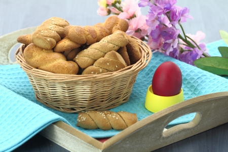 Butter shortbread biscuits and Easter egg on the table  photo