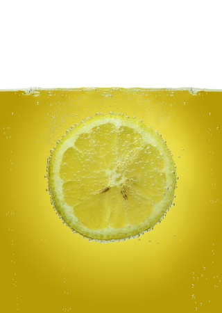 Lemon slice in water photo