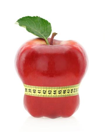 gordo y flaco: Frutas concepto de dieta Foto de archivo