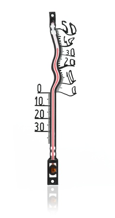 Heat concept. Melted thermometer Stock Photo