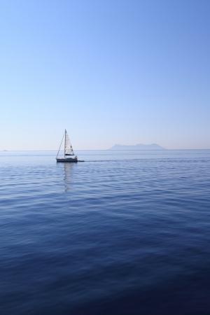 greek islands: Sailing yacht on Sea Stock Photo