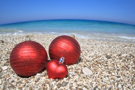 Christmas balls on the beach photo