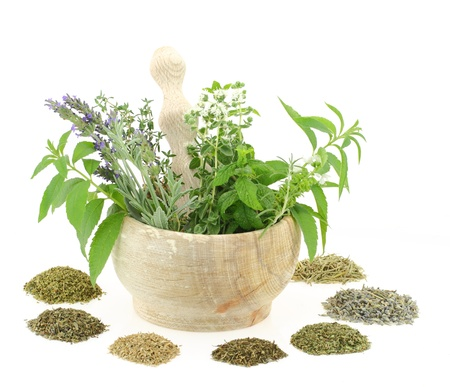 herb tea:  Mortar and pestle with herbs and spices