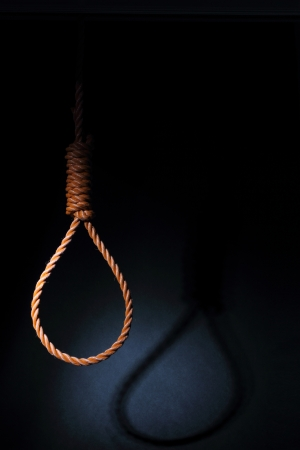 noose: Gallows on black background