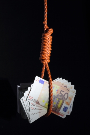 economic depression:  Economic problems. Money hanging on a noose