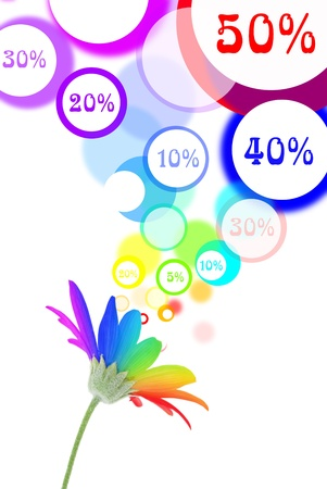 promotion girl: Sales speech bubbles come out of rainbow flower Stock Photo