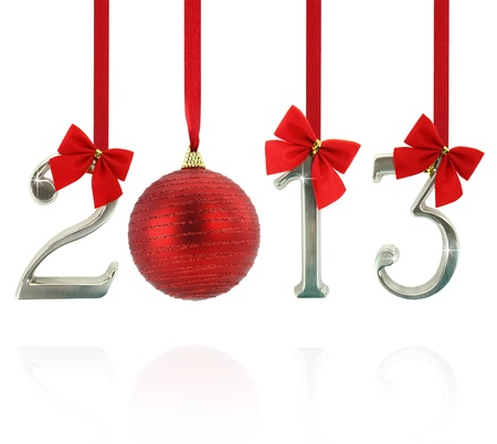 2013 calendar ornaments hanging on red ribbons photo