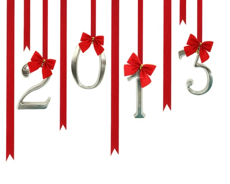 feliz: 2013 calendar ornaments hanging on red ribbons