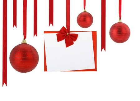 Christmas card and Christmas balls hanging on red ribbons photo