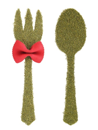 Spoon and fork made of dill  photo