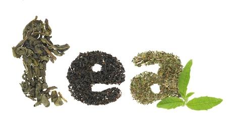 Tea word made of tea varieties