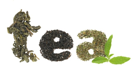 drinking tea: Tea word made of tea varieties