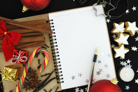 recipe decorated: Christmas note book Stock Photo