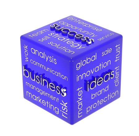 private information: Business cube Stock Photo