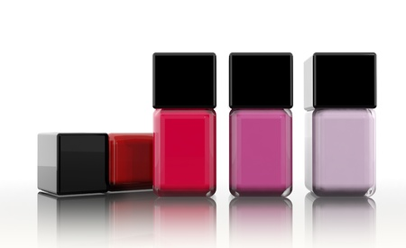 nail varnish: Group of nail polishes isolated on white