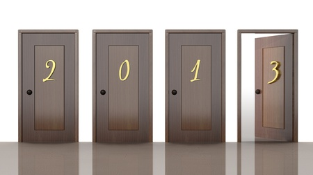 3d doors with new year 2013 numbers  photo