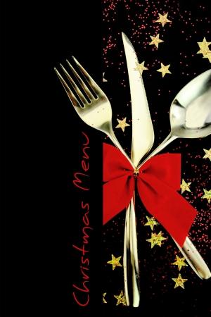 cena navide�a: Men� de Navidad Foto de archivo